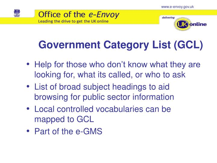 Government Category List (GCL)
