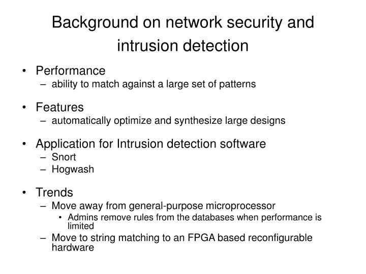 Background on network security and intrusion detection