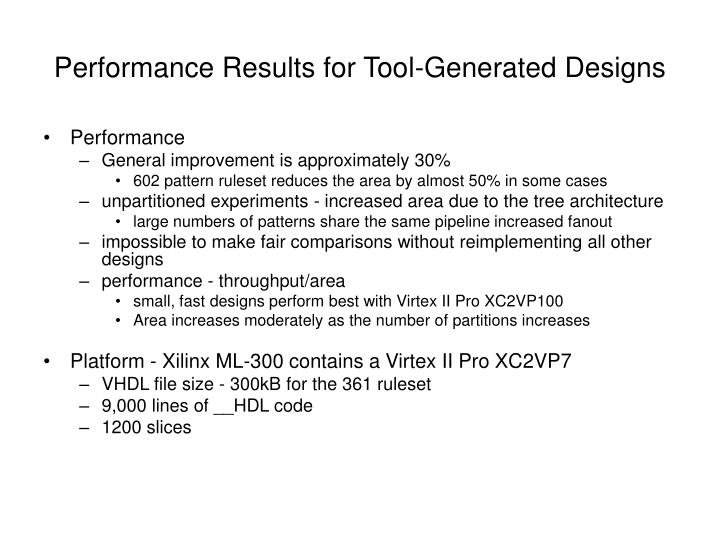 Performance Results for Tool-Generated Designs