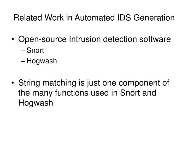 Related Work in Automated IDS Generation