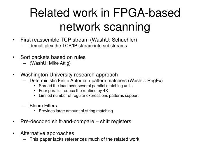 Related work in FPGA-based network scanning