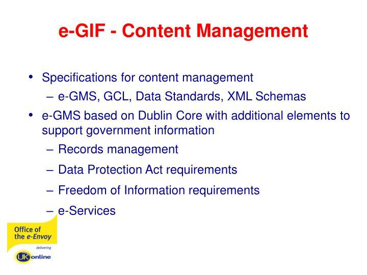 e-GIF - Content Management
