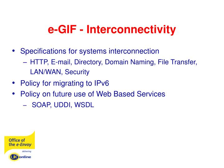 e-GIF - Interconnectivity