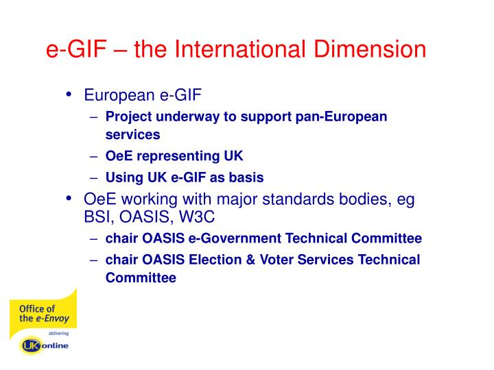 e-GIF – the International Dimension