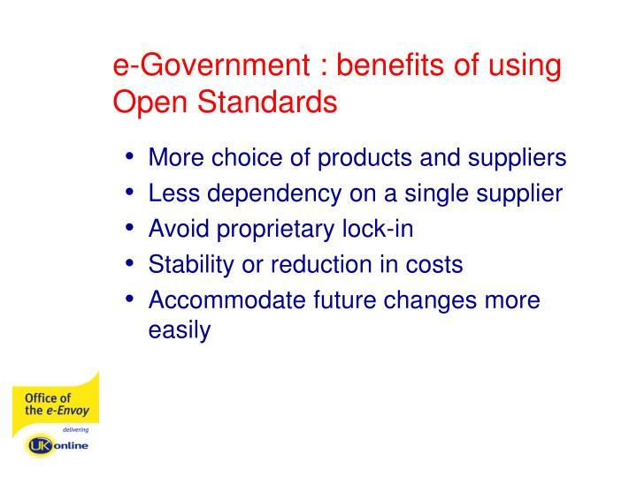 e-Government : benefits of using Open Standards