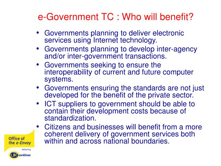 e-Government TC : Who will benefit?