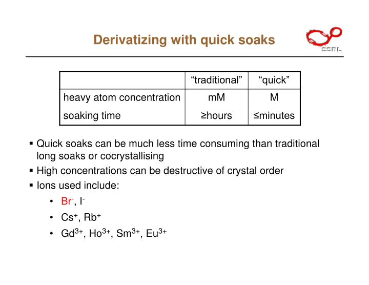 Derivatizing with quick soaks