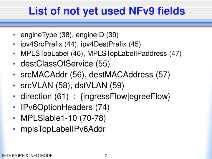 List of not yet used NFv9 fields