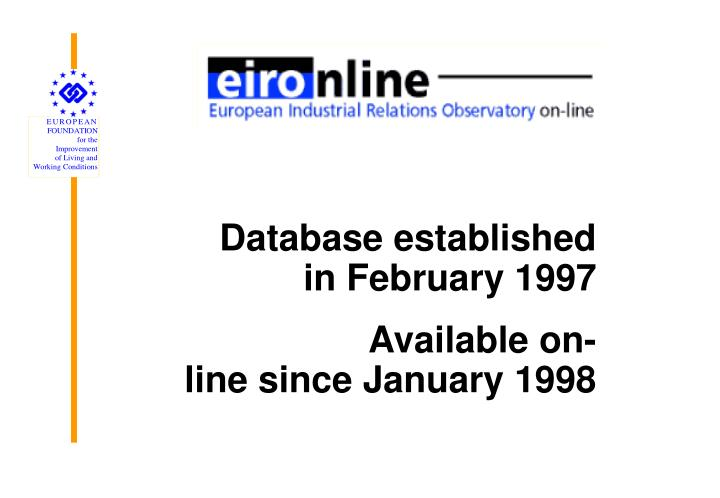 Database established in February 1997