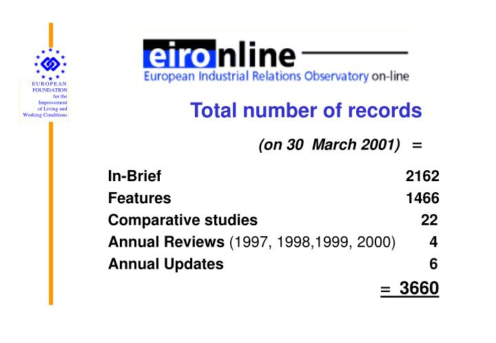 Total number of records