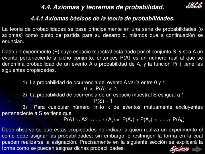 4.4. Axiomas y teoremas de probabilidad.