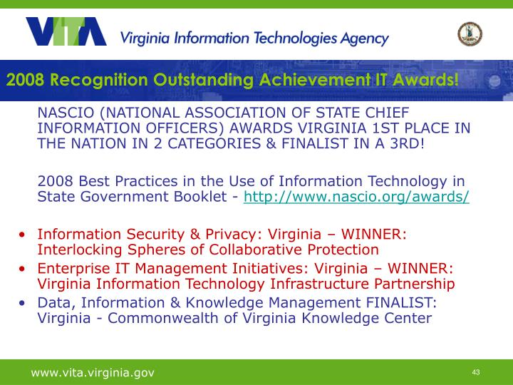 2008 Recognition Outstanding Achievement IT Awards!