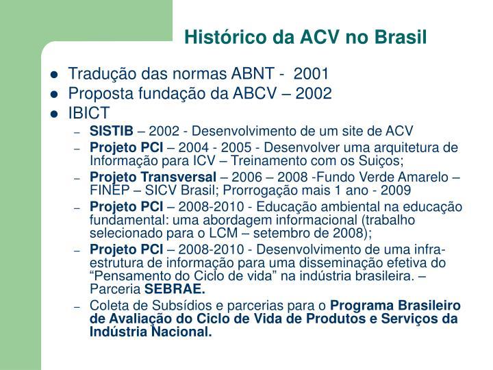 Histórico da ACV no Brasil