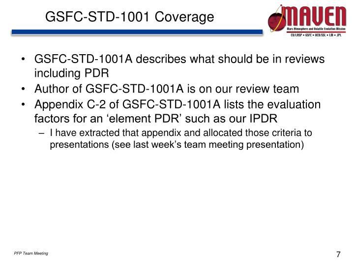 GSFC-STD-1001 Coverage