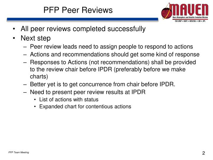 Pfp peer reviews