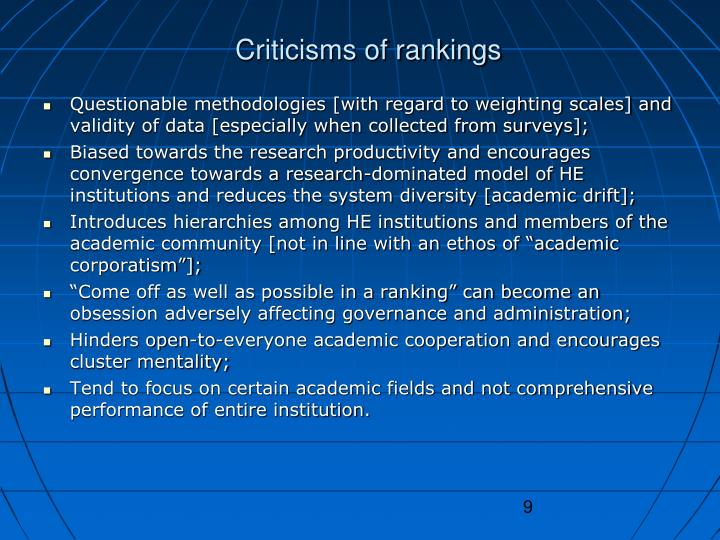 Criticisms of rankings