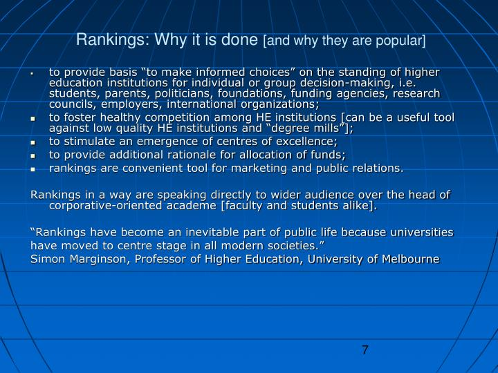 Rankings: Why it is done