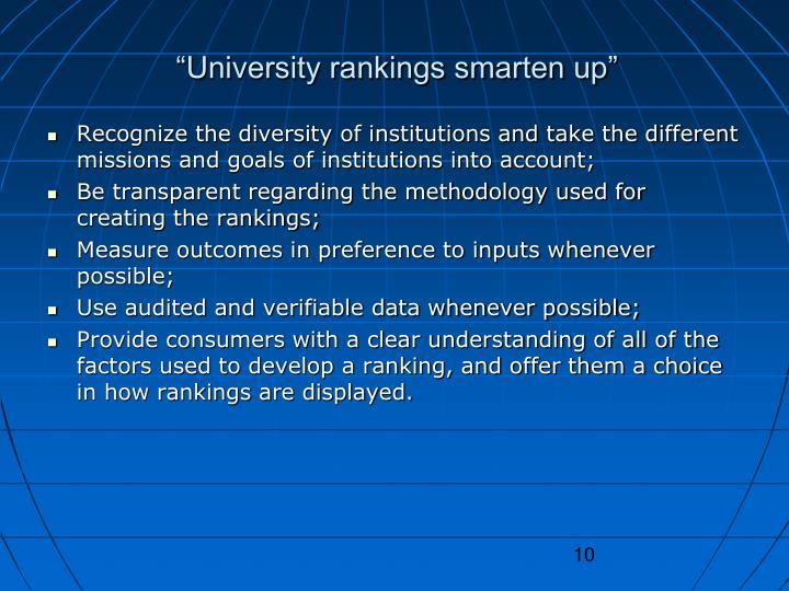 """University rankings smarten up"""