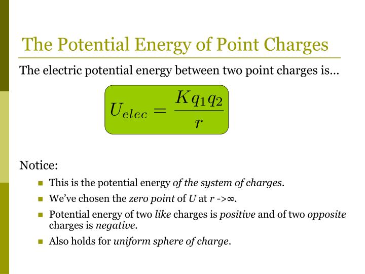 The Potential Energy of Point Charges