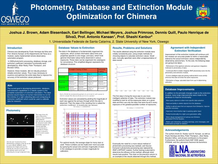 Photometry, Database and Extinction Module Optimization for Chimera