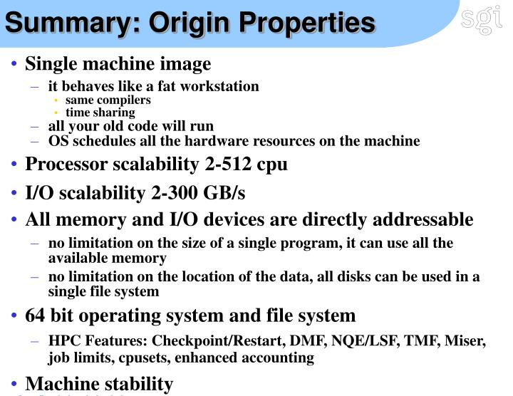 Summary: Origin Properties