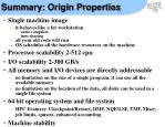 summary origin properties