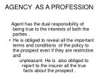 agency as a profession1