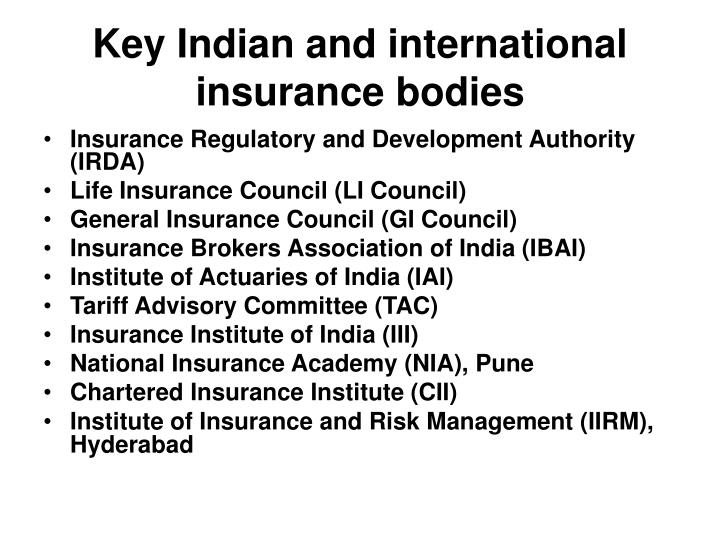Key Indian and international insurance bodies