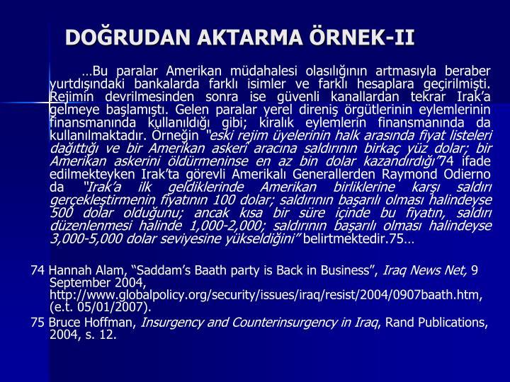 DOĞRUDAN AKTARMA ÖRNEK-II