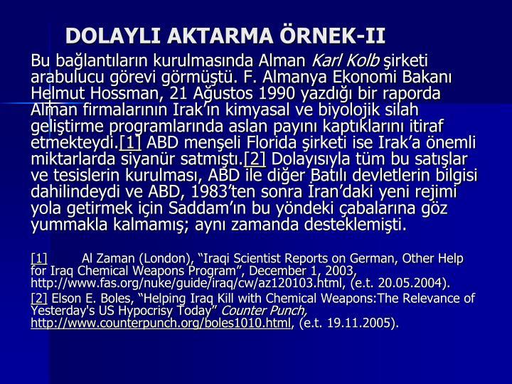 DOLAYLI AKTARMA ÖRNEK-II