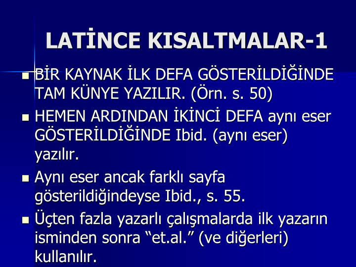 LATİNCE KISALTMALAR-1