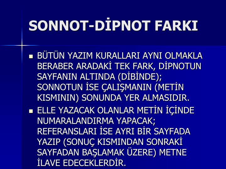 SONNOT-DİPNOT FARKI