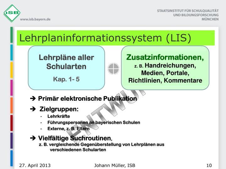 Lehrplaninformationssystem (LIS)