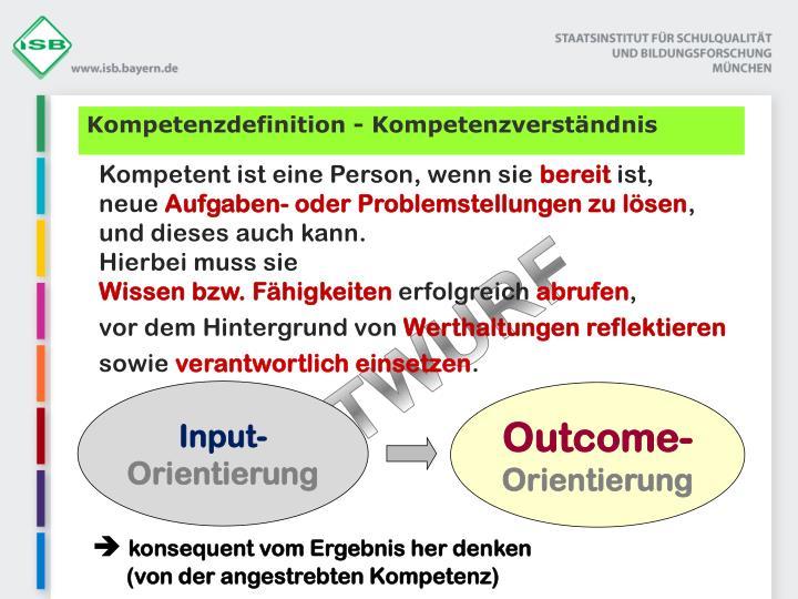 Kompetenzdefinition - Kompetenzverständnis