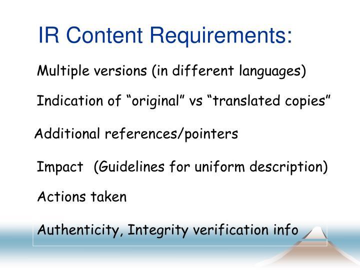 IR Content Requirements: