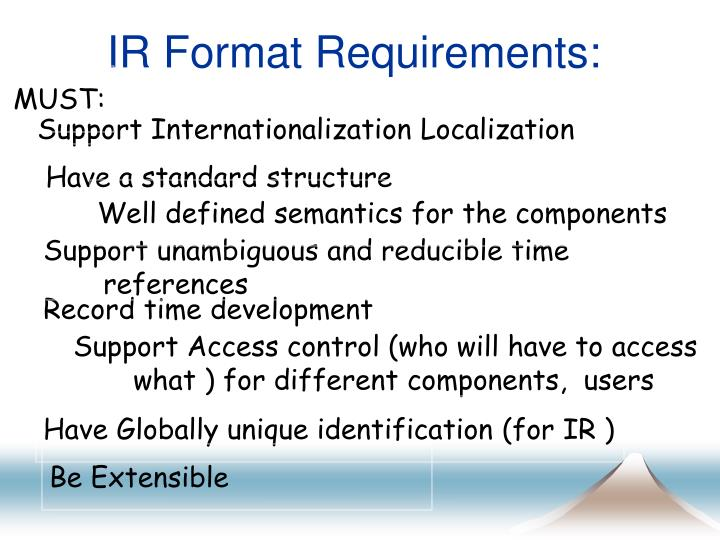 IR Format Requirements: