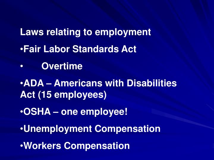 Laws relating to employment