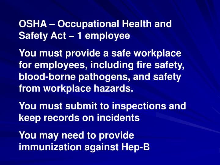 OSHA – Occupational Health and Safety Act – 1 employee