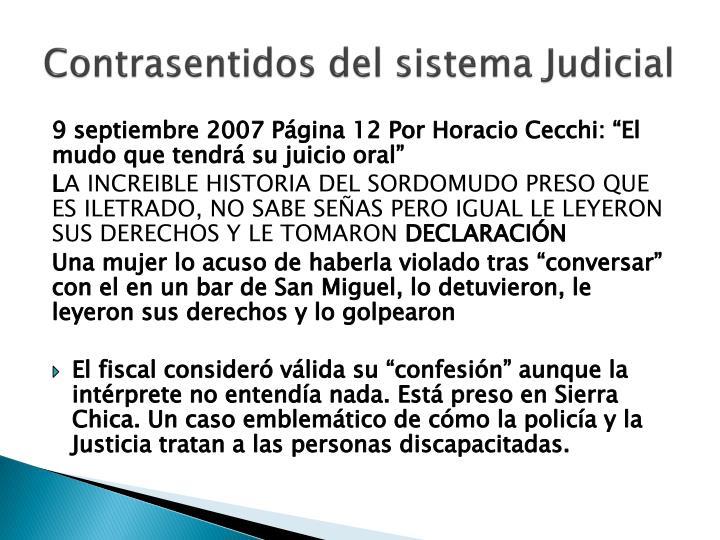 Contrasentidos del sistema Judicial