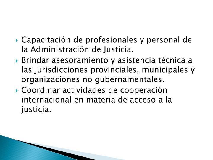 Capacitación de profesionales y personal de la Administración de Justicia.