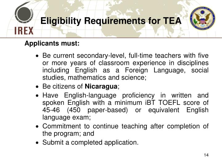 Eligibility Requirements for TEA