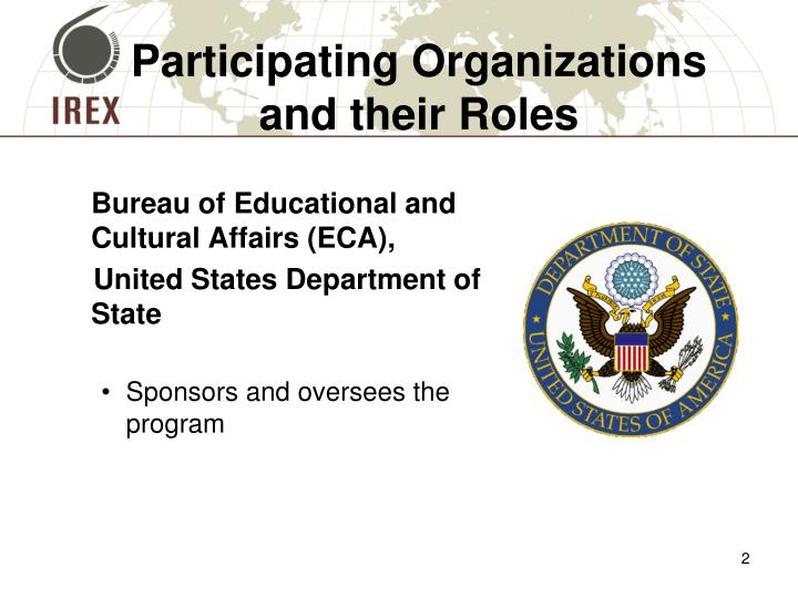Participating organizations and their roles