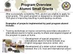 program overview alumni small grants