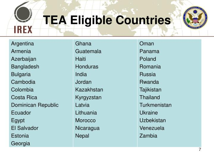 TEA Eligible Countries