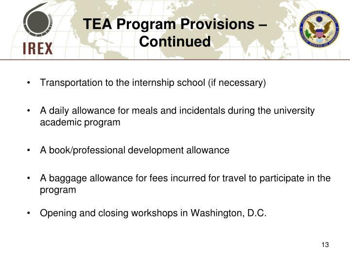 TEA Program Provisions –