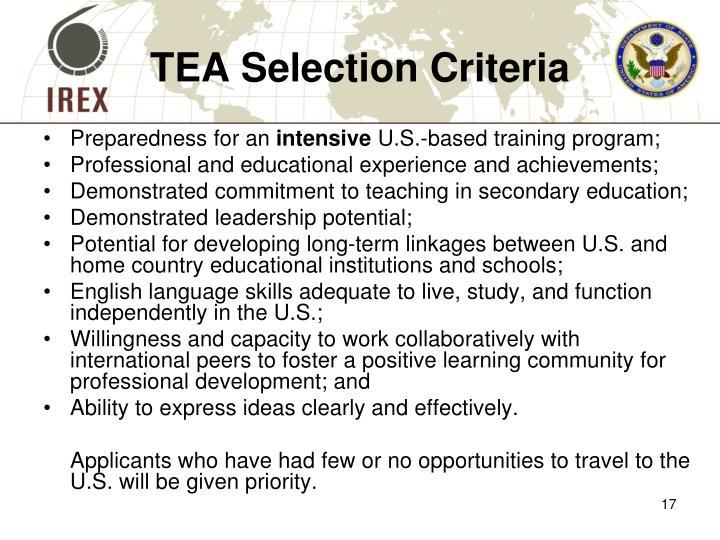 TEA Selection Criteria