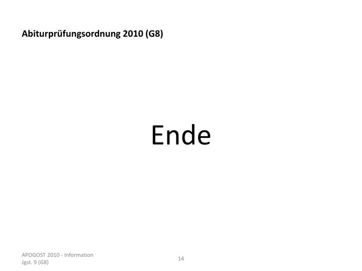 Abiturprüfungsordnung 2010 (G8)