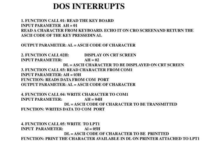 DOS INTERRUPTS