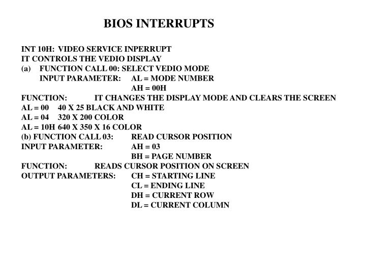 BIOS INTERRUPTS