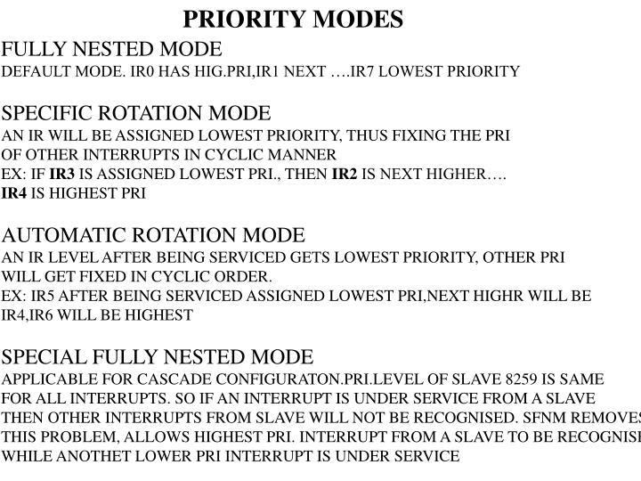 PRIORITY MODES